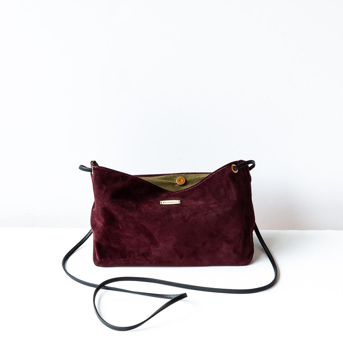 Interior View - Bordeaux & Khaki - Handmade Flap Purse in Calf Suede & Pork Suede Lining - Sold by Chic & Basta