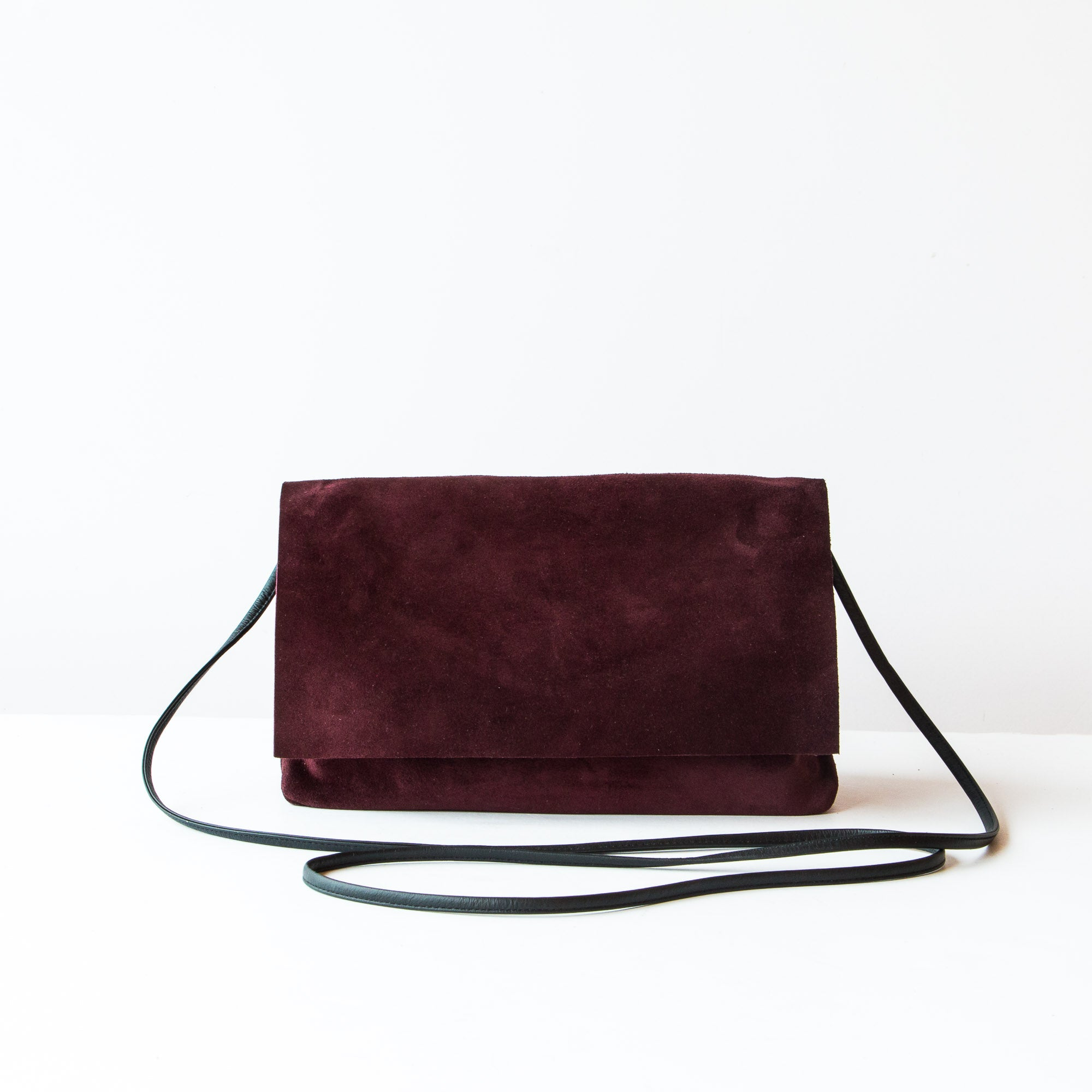 Bordeaux & Khaki - Handmade Flap Purse in Calf Suede & Pork Suede Lining - Sold by Chic & Basta