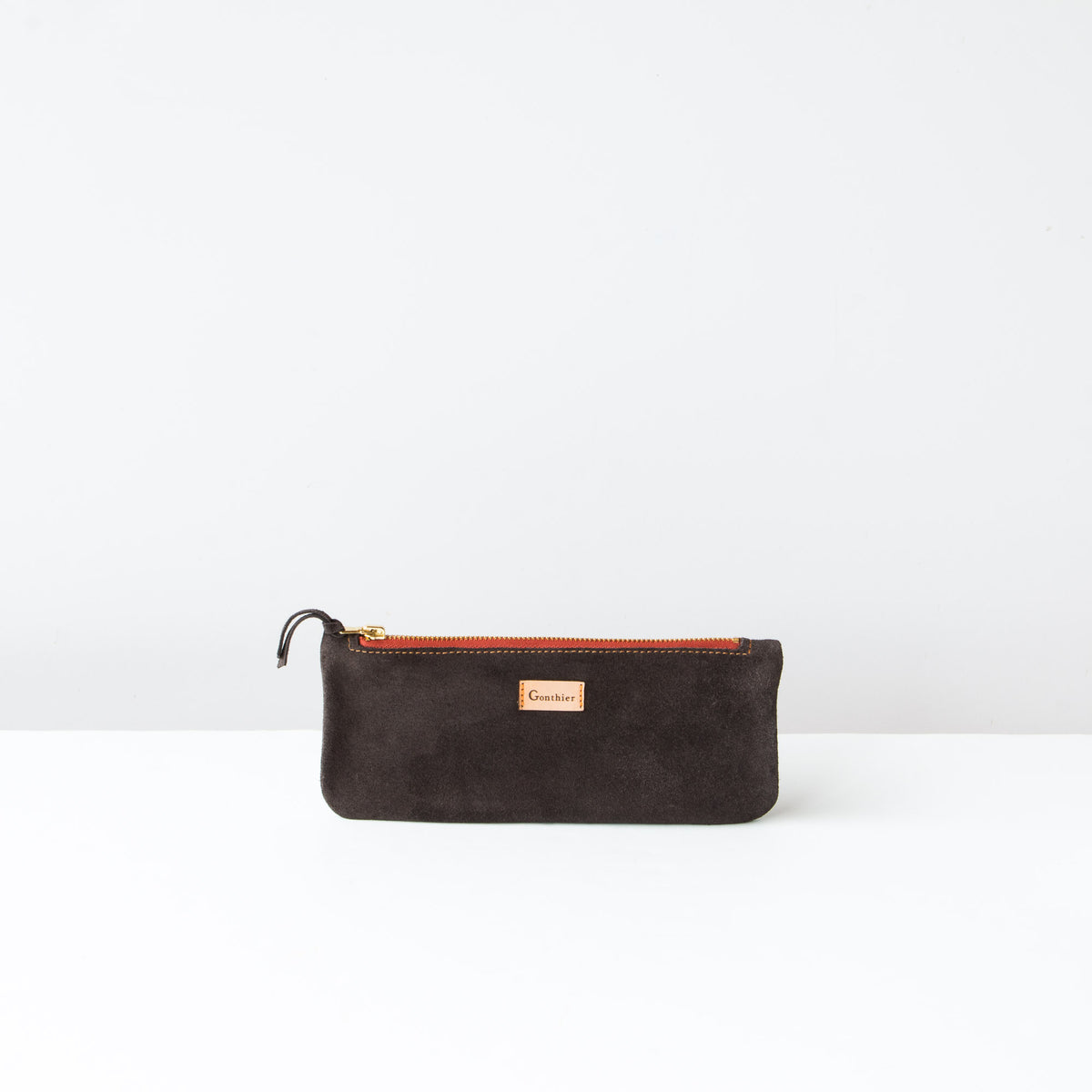 Greystone & Orange - Handmade Long Pouch in Suede Calfskin - Sold by Chic & Basta