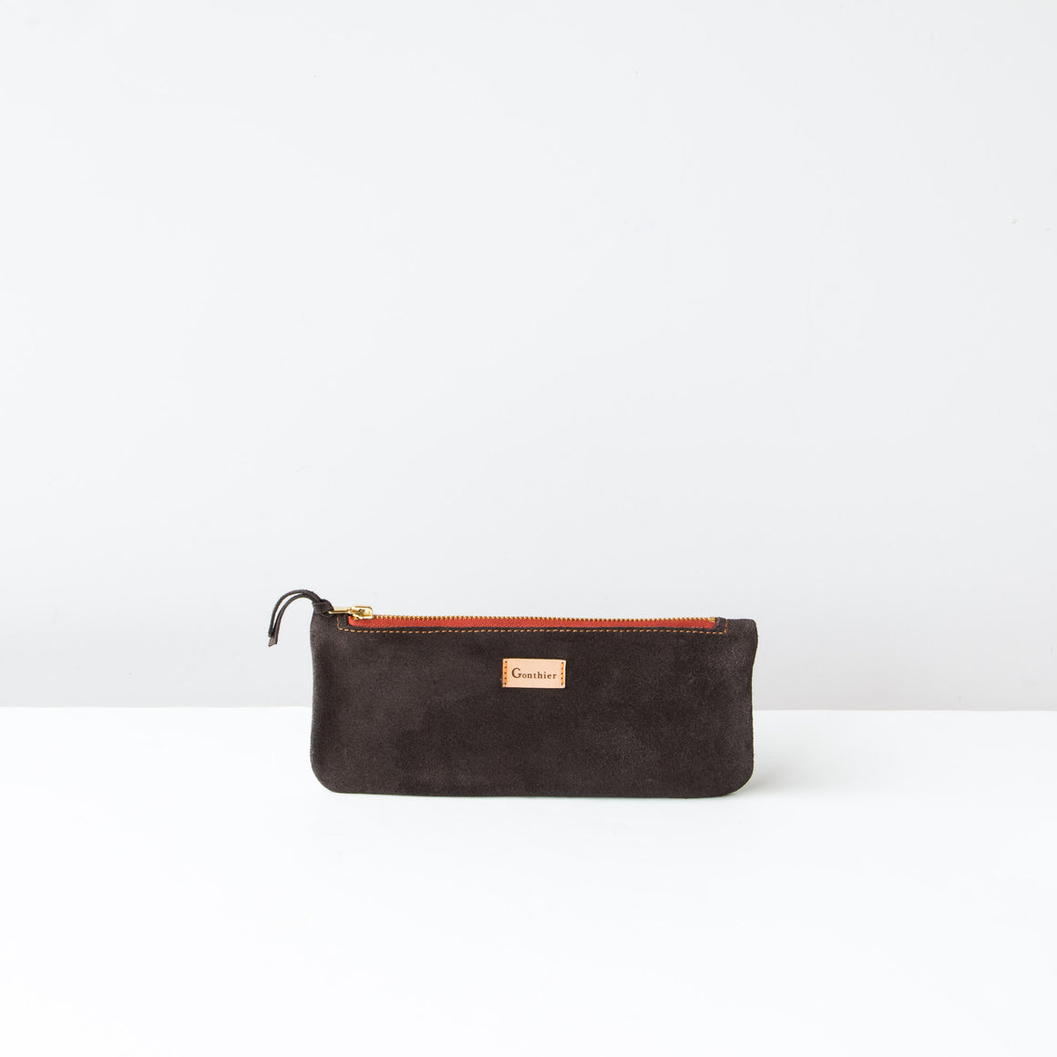 Bordeaux & Khaki - Handmade Long Pouch in Suede Calfskin - Sold by Chic & Basta