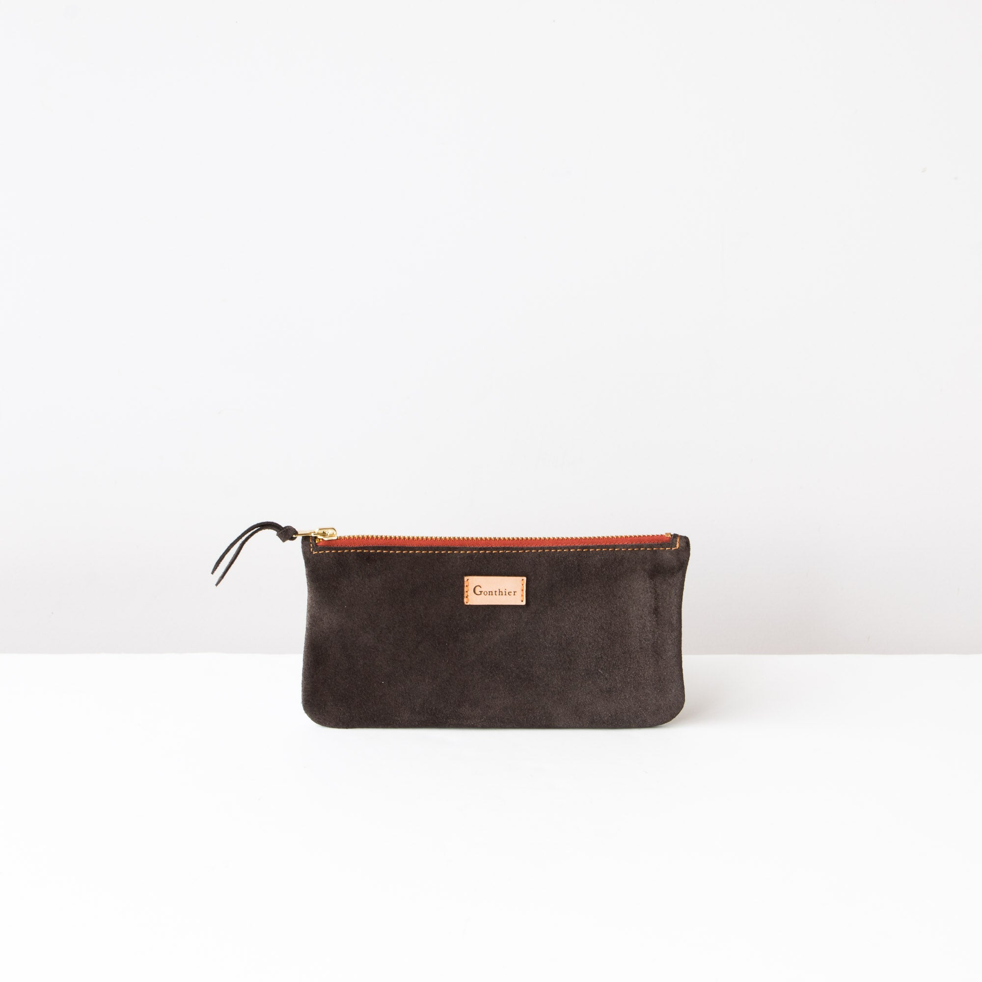 Greystone & Orange - Handmade Tall Pouch in Suede Calfskin - Sold by Chic & Basta
