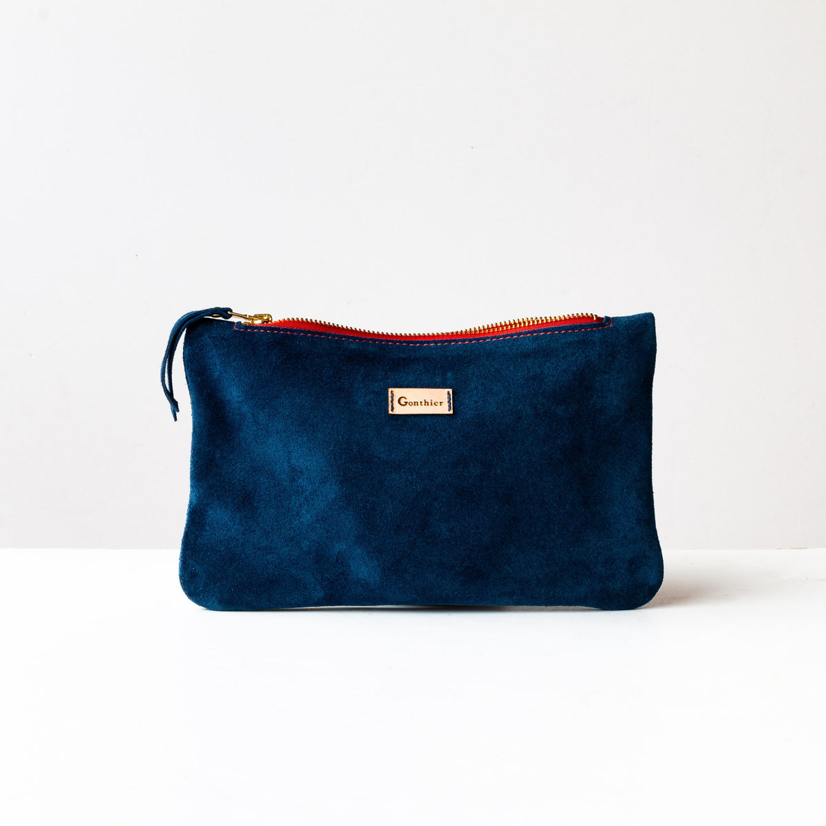 Blue & Orange - Handmade Small Shoulder Bag in Suede Calfskin - Sold by Chic & Basta