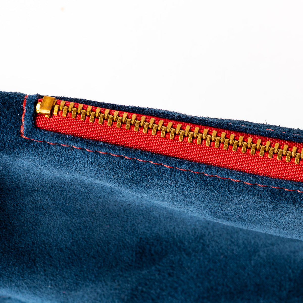 Detail - Blue & Orange - Handmade Small Shoulder Bag in Suede Calfskin - Sold by Chic & Basta