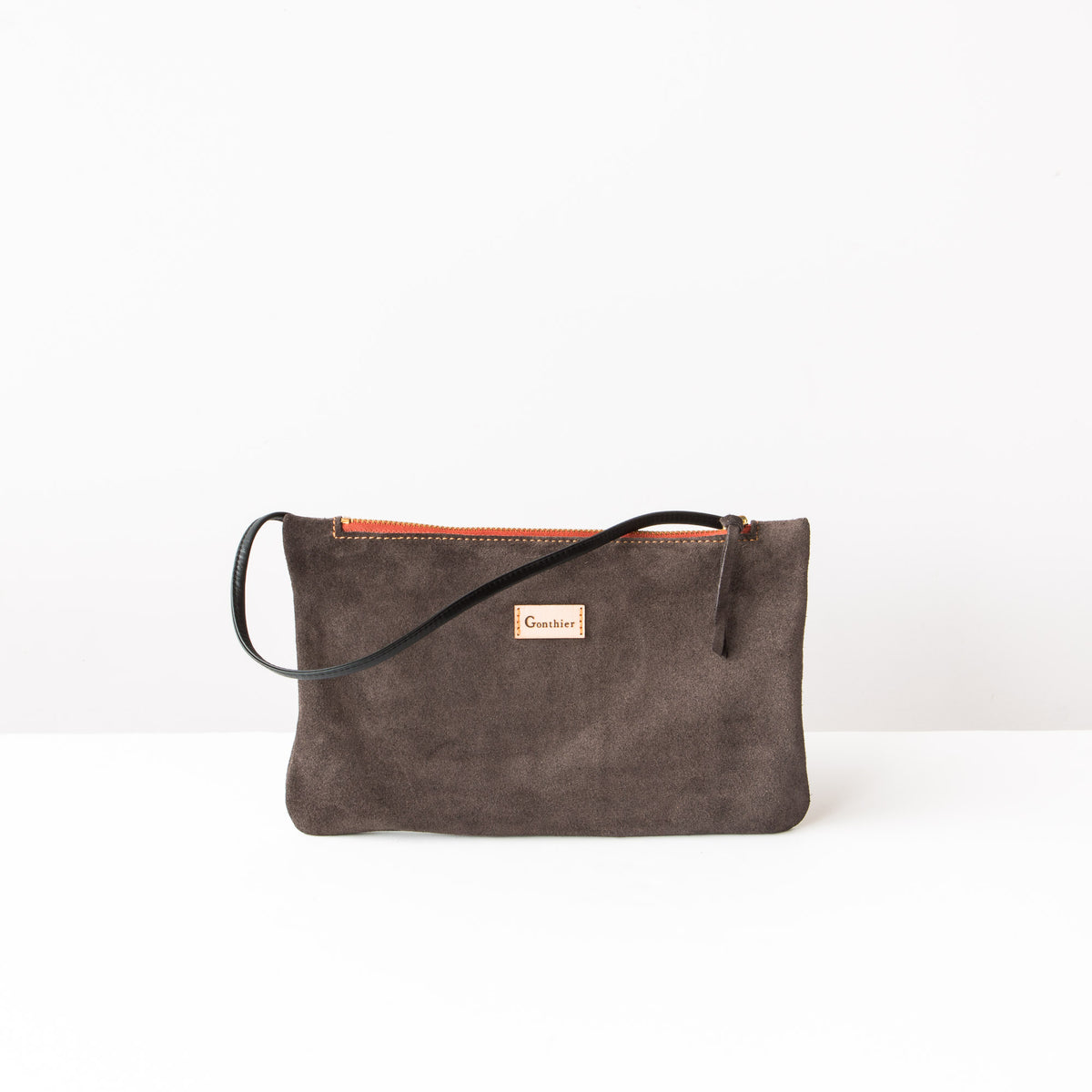 Front View - Greystone & Orange - Handmade Small Shoulder Bag in Suede Calfskin - Sold by Chic & Basta