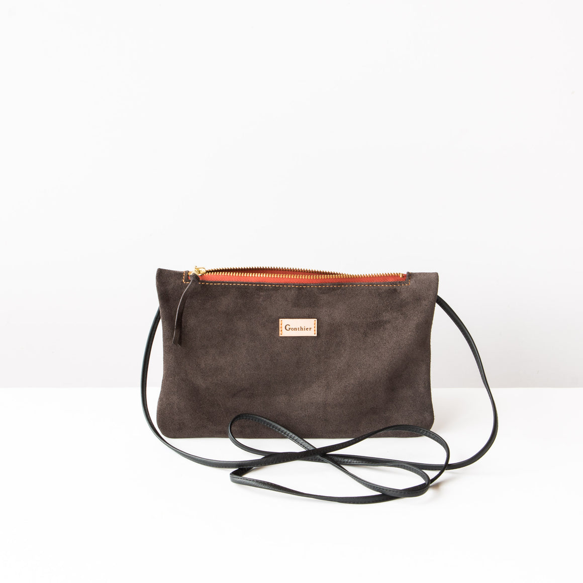 Bordeaux & Khaki - Handmade Small Shoulder Bag in Suede Calfskin - Sold by Chic & Basta