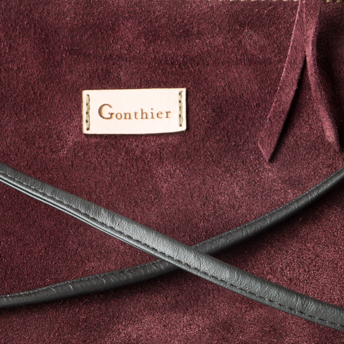 Calfskin Detail - Bordeaux & Khaki - Handmade Small Shoulder Bag in Suede Calfskin - Sold by Chic & Basta