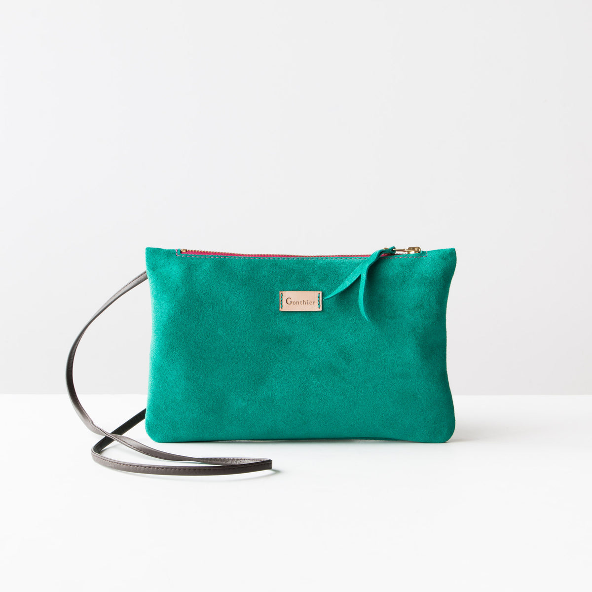 Turquoise & Pink - Handmade Small Shoulder Bag in Suede Calfskin - Sold by Chic & Basta
