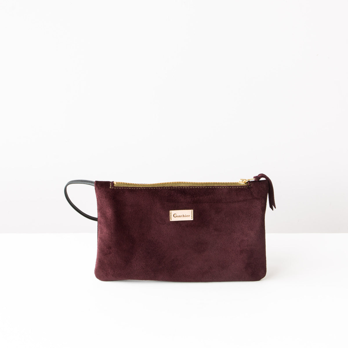 Front View - Bordeaux & Khaki - Handmade Small Shoulder Bag in Suede Calfskin - Sold by Chic & Basta
