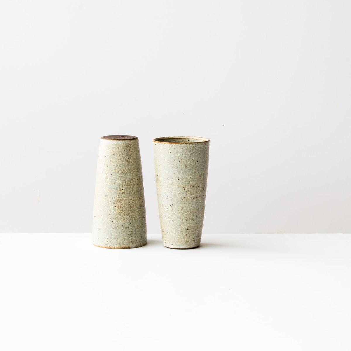 Greige Colour - Two Handmade Tall Ceramic Tumblers - Sold by Chic & Basta