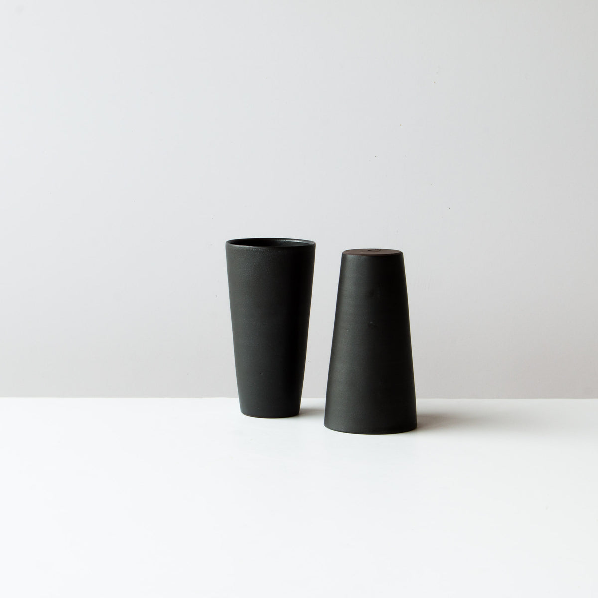 Black Colour - Two Handmade Tall Ceramic Tumblers - Sold by Chic & Basta