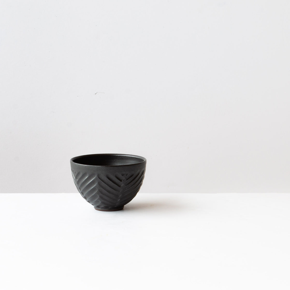 Black Colour -  Hand Thrown Ceramic - Herringbone Pattern Tea Bowl - Made in Canada - Chic & Basta