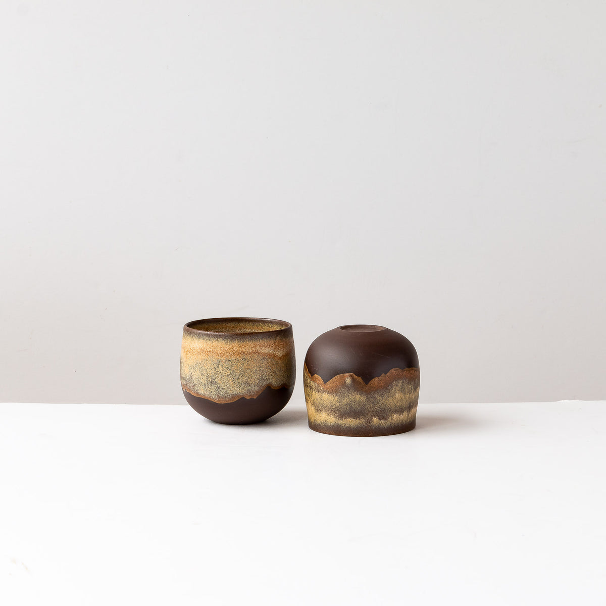 Two Handmade Tea Bowl in Black Stoneware - Sold by Chic & Basta
