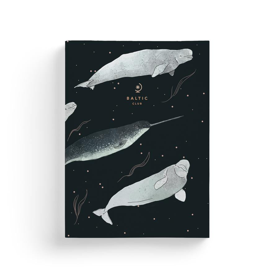 The Belugas Notebook - 110 Lined Pages - Thick Cardboard Cover & Gold Stamping - Sold by Chic & Basta