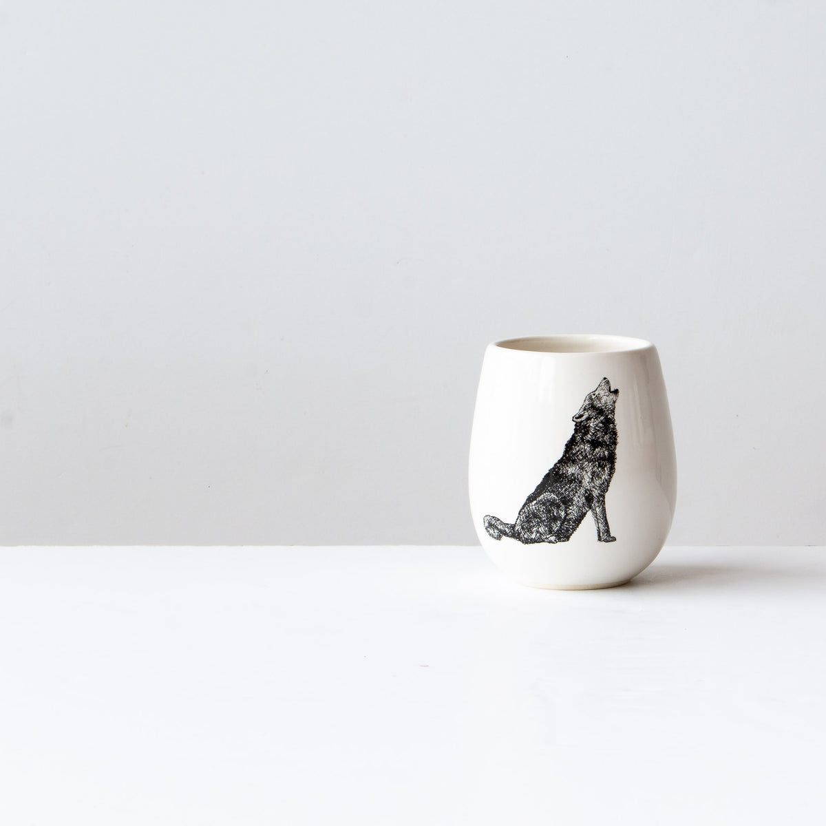 The Wolf - Handthrown Porcelain Wine Tumbler - Sold by Chic & Basta
