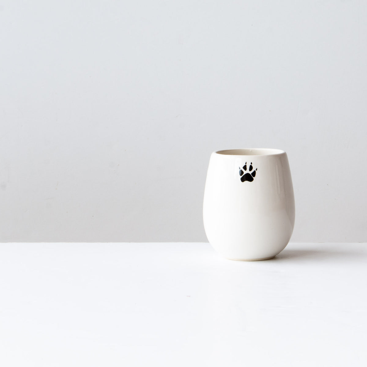 Rear View - The Wolf - Handthrown Porcelain Wine Tumbler / Glass - Sold by Chic & Basta