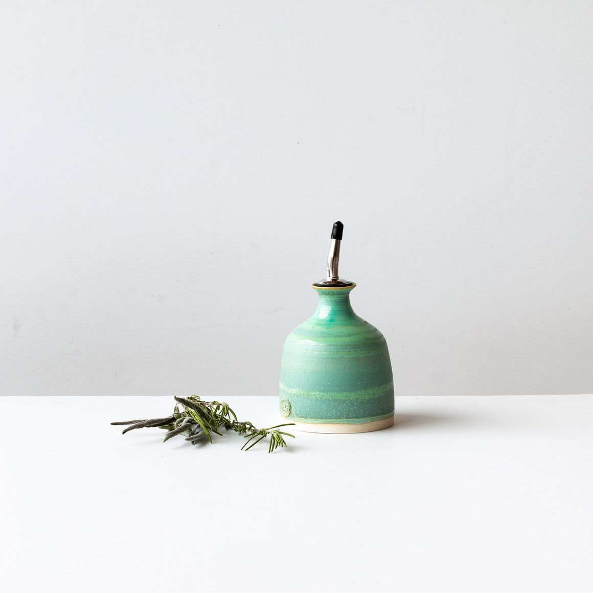 Handcrafted Stoneware Little Turquoise Oil Bottle - Sold by Chic & Basta