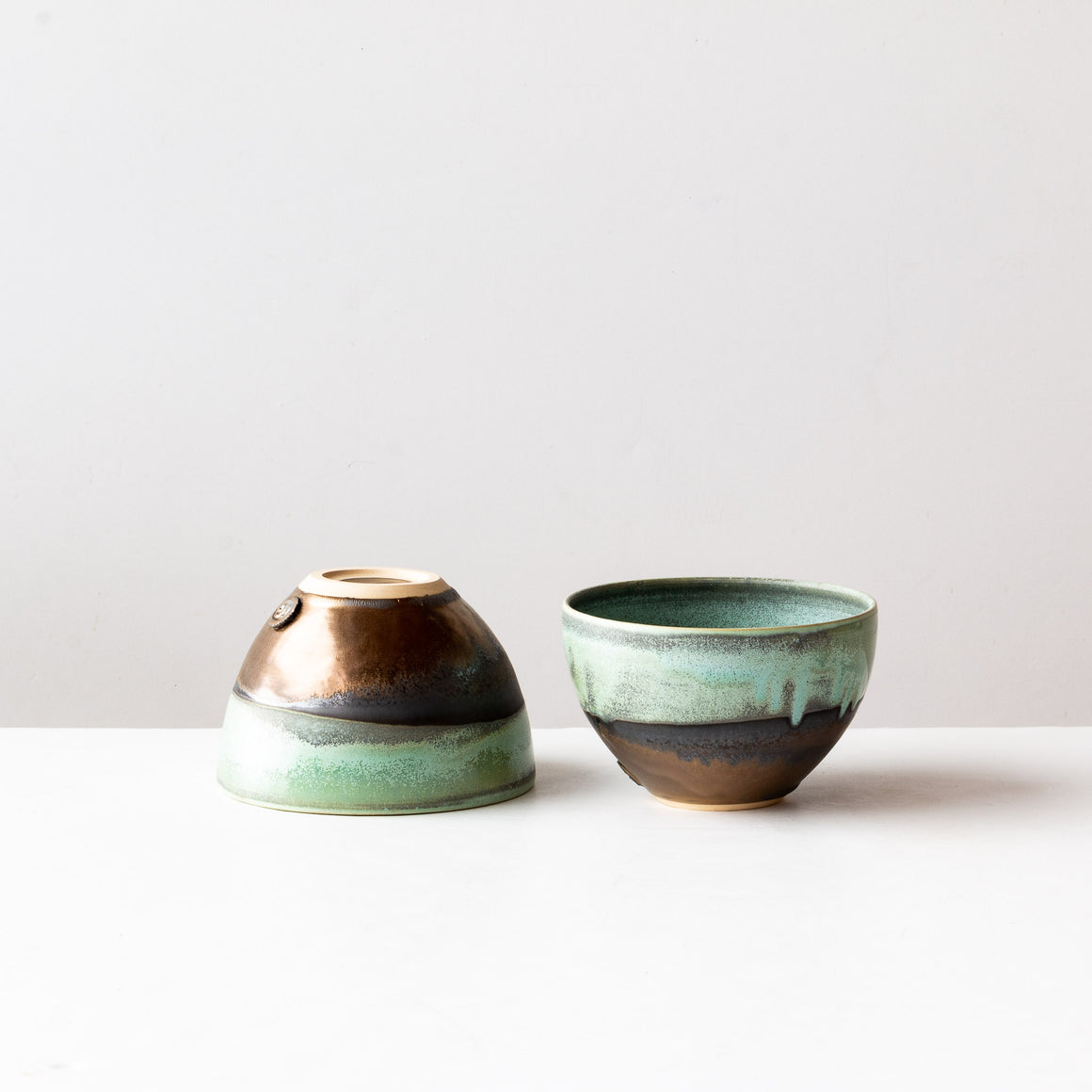 Three Handmade Turquoise Bowls in Sandstone - Sold by Chic & Basta