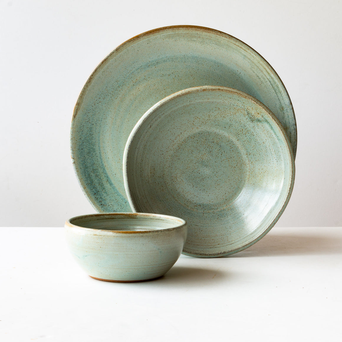 Top View - Handmade 3-Piece Dinnerware Set in Greyish Green Stoneware - Sold by Chic & Basta