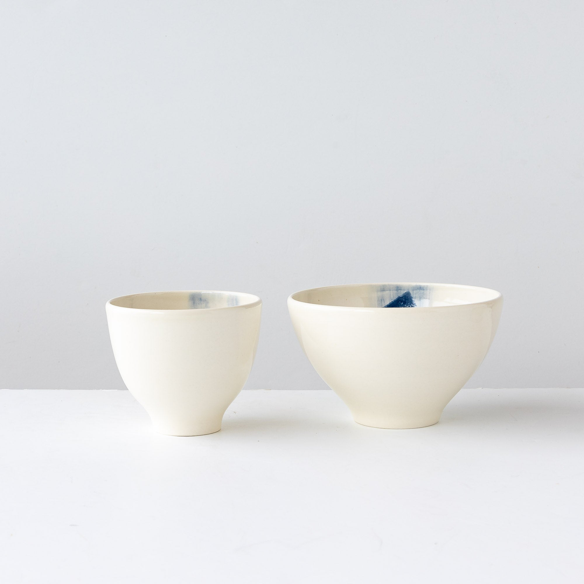 Top View - Hand Thrown White & Blue Porcelain Bowls - Sold by Chic & Basta