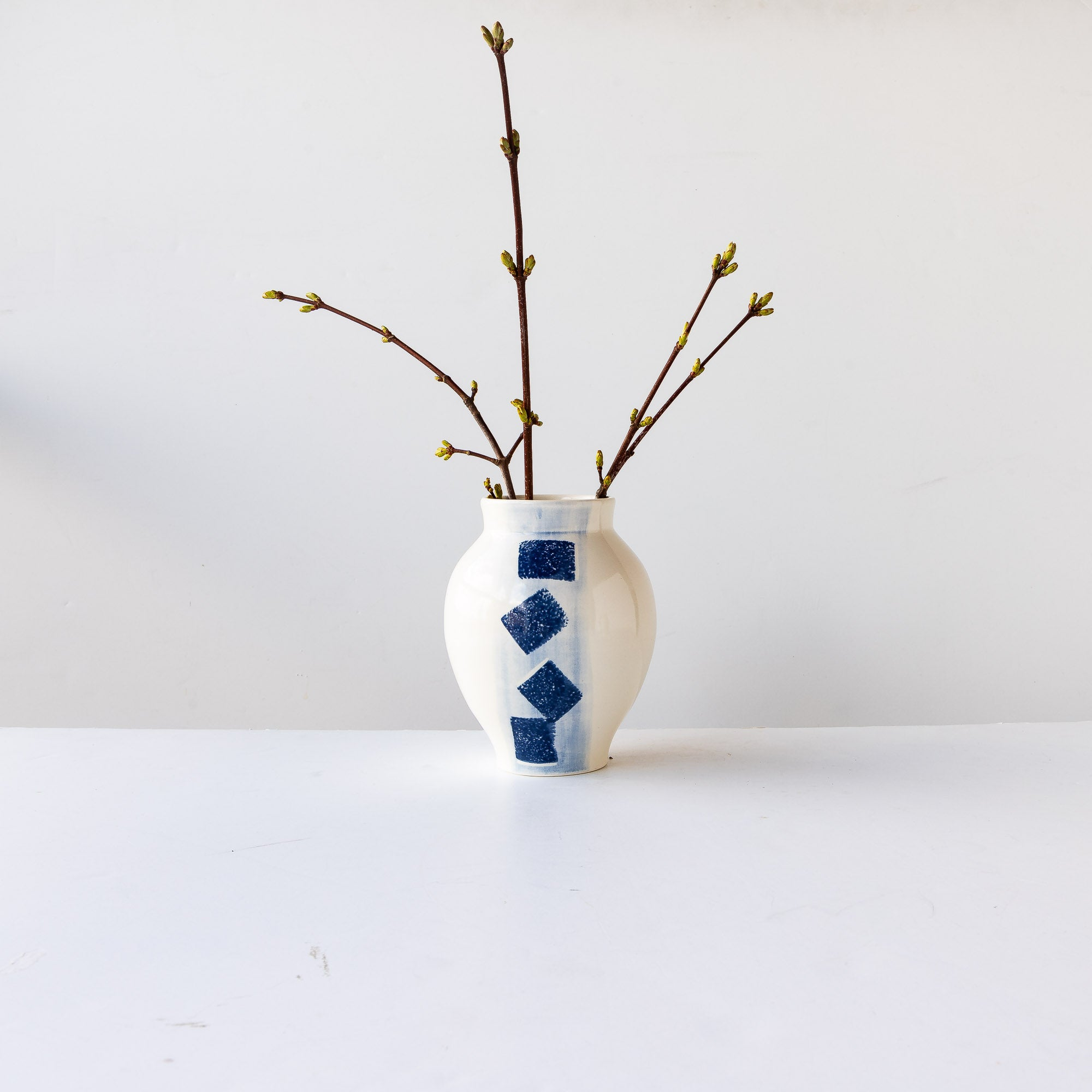 Small Handmade Vase in White & Blue Porcelain - Sold by Chic & Basta