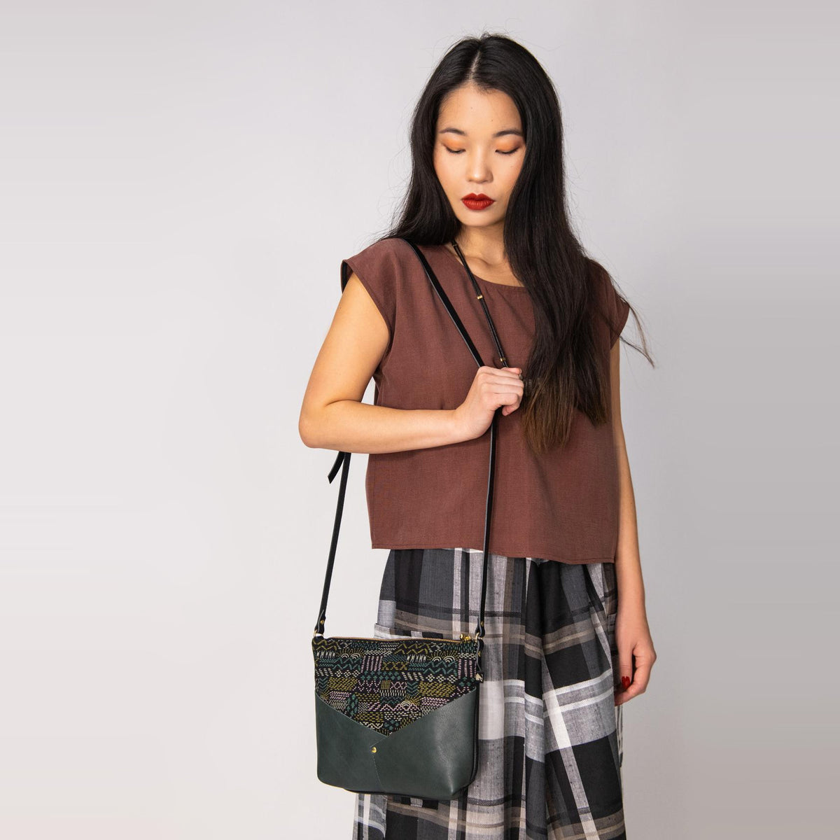 Model Wearing a Woodstock / Embroidery Fabric & Forest Leather - Small Bag