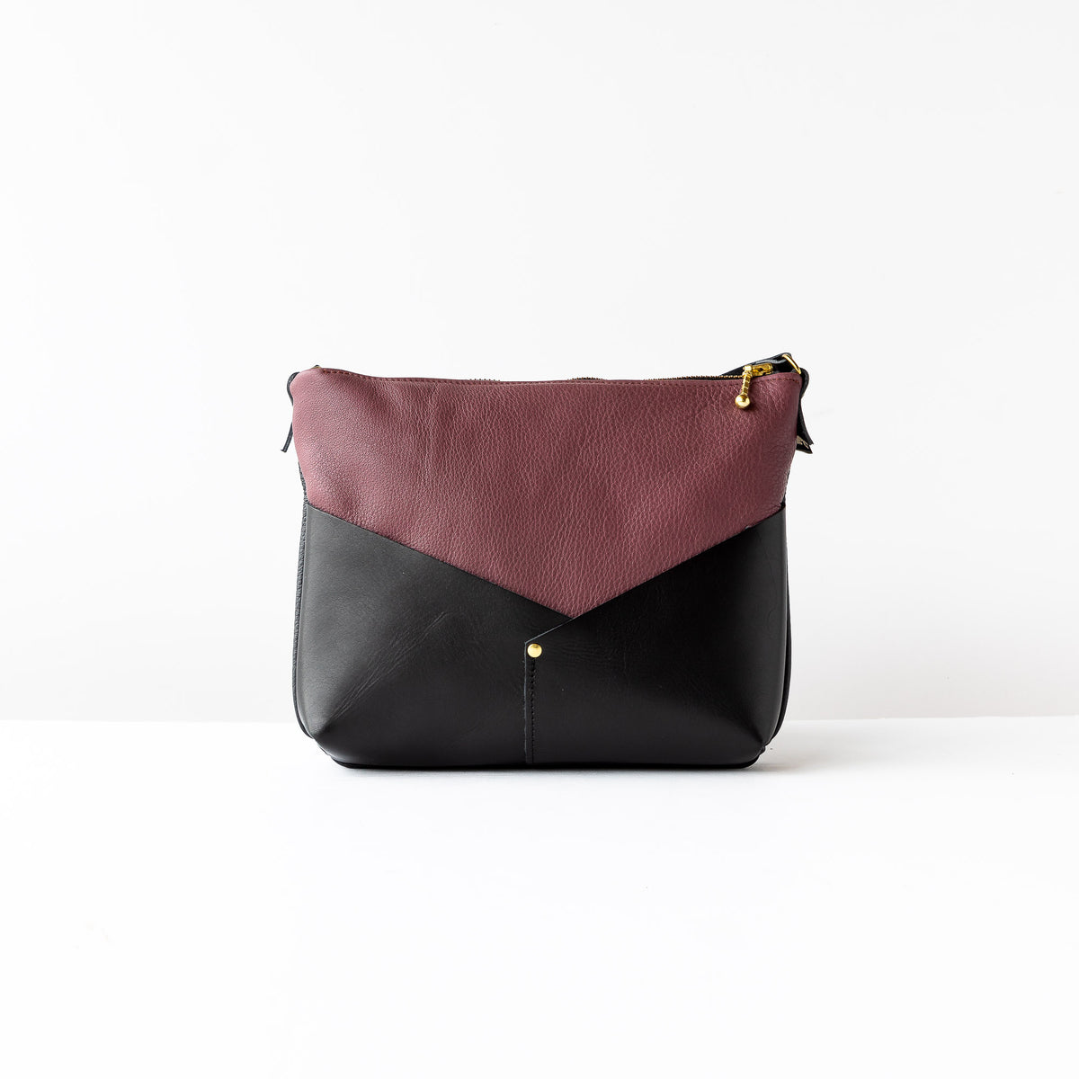 Woodstock / Mauve Leather & Black Leather - Small Bag - Sold by Chic & Basta
