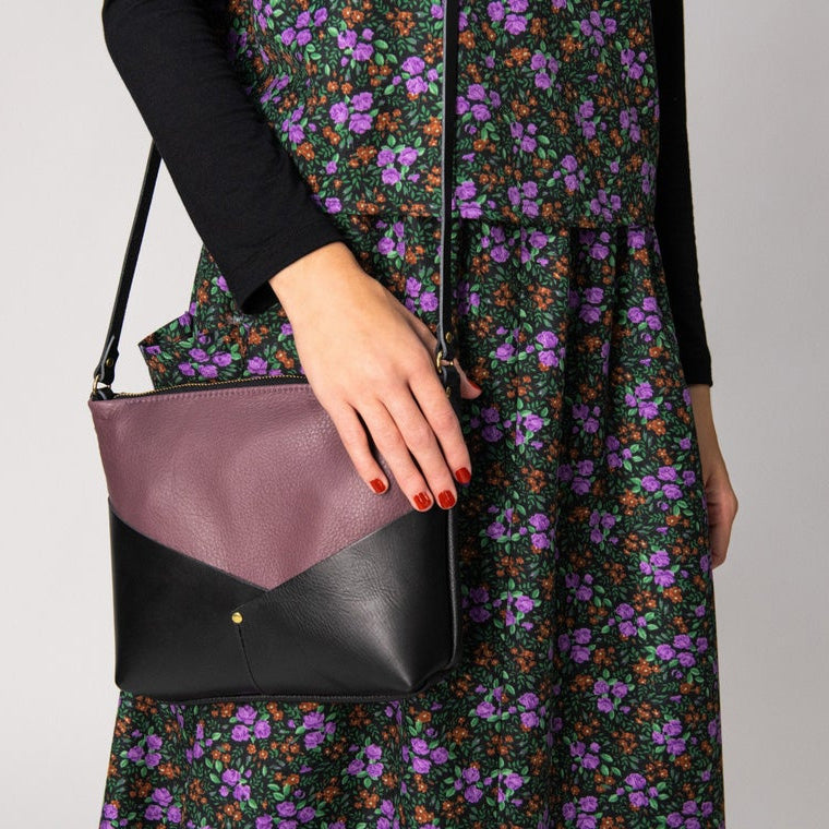 Model Wearing a Woodstock / Mauve Leather & Black Leather - Small Bag - Sold by Chic & Basta