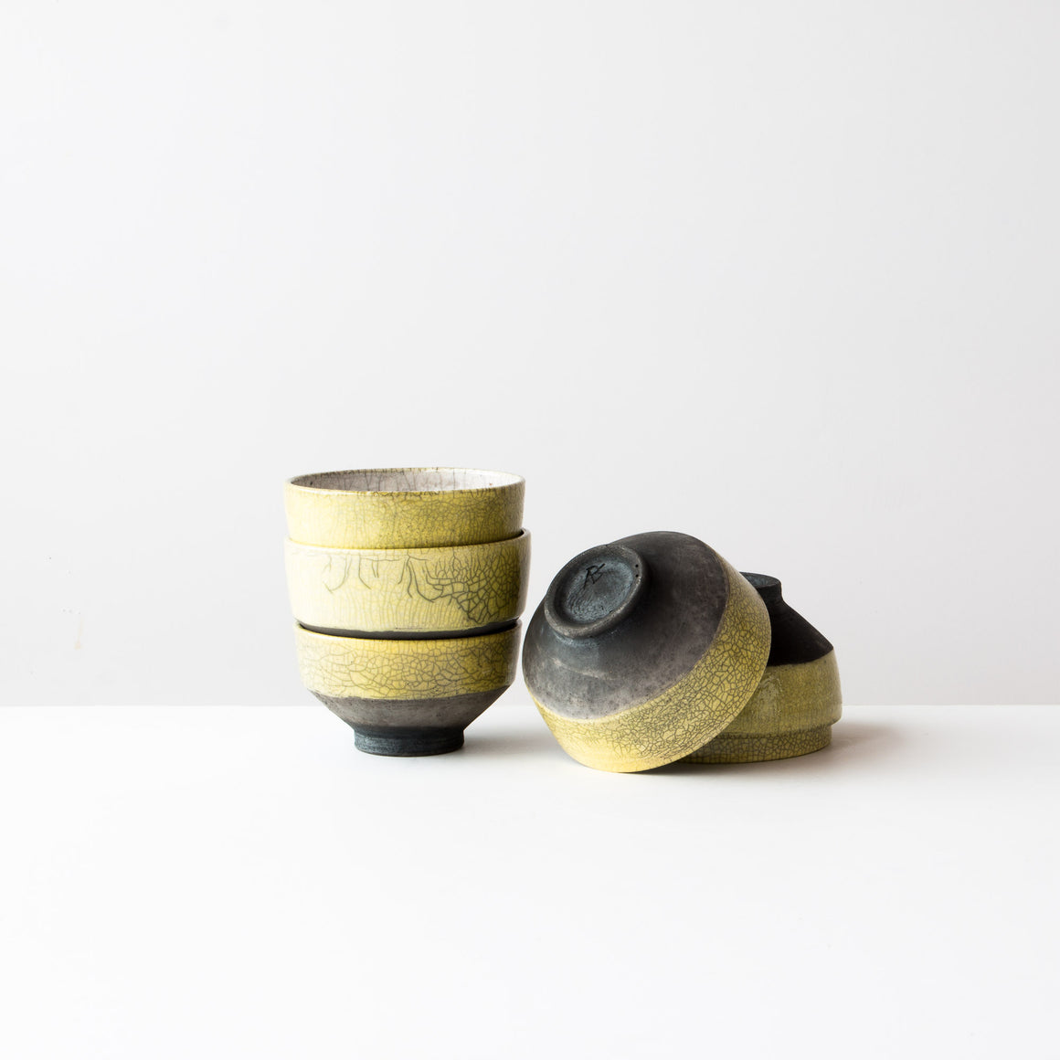 Four Handmade Yellow Raku Ceramics Tea Bowls - Chawan Tea Bowls - Sold by Chic & Basta