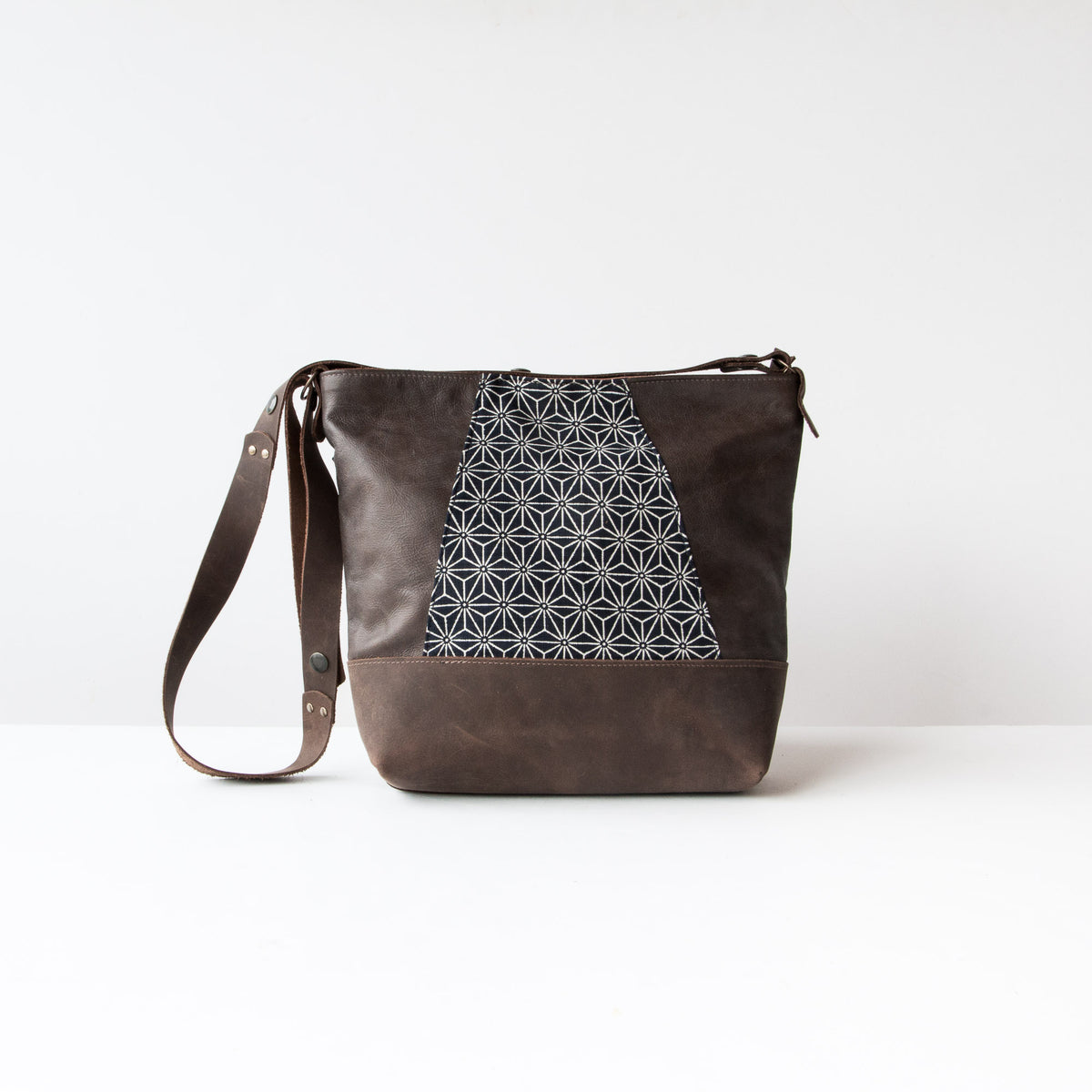 Front View - Yupik - Adjustable Leather Shoulder Bag with Japanese Fabric - Sold by Chic & Basta