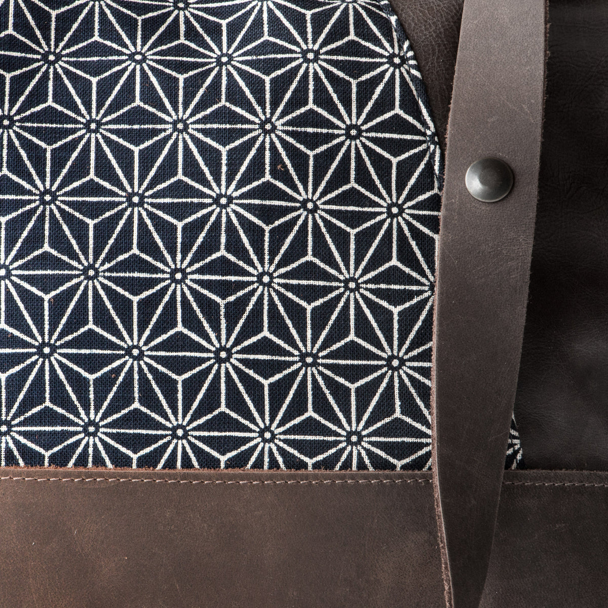 Fabric Detail - Yupik - Adjustable Leather Shoulder Bag with Japanese Fabric - Sold by Chic & Basta