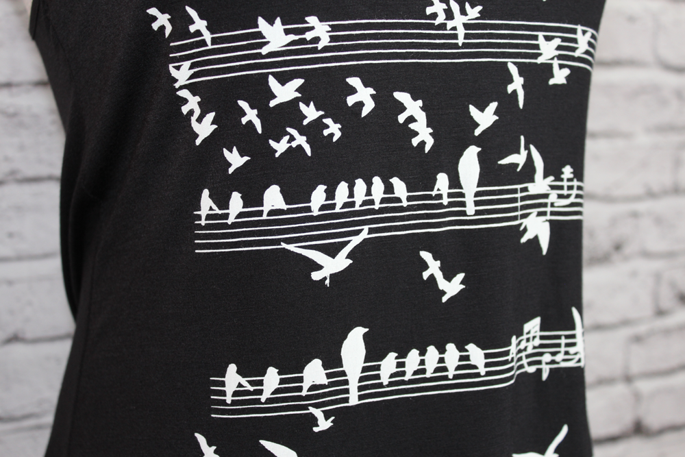 Music Staff Sparrows Tank
