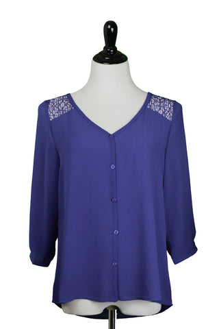 Blue Blouse with lace shoulder