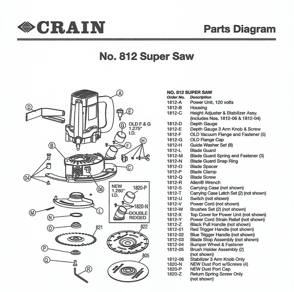 Crain Super Saw Parts List