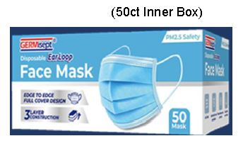 GERMisept Disposable 3 ply Face Mask box(pk of 50) #G01459