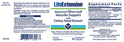 Advanced Olive Leaf Vascular Support with Celery Seed Extract 60 vegetarian capsules