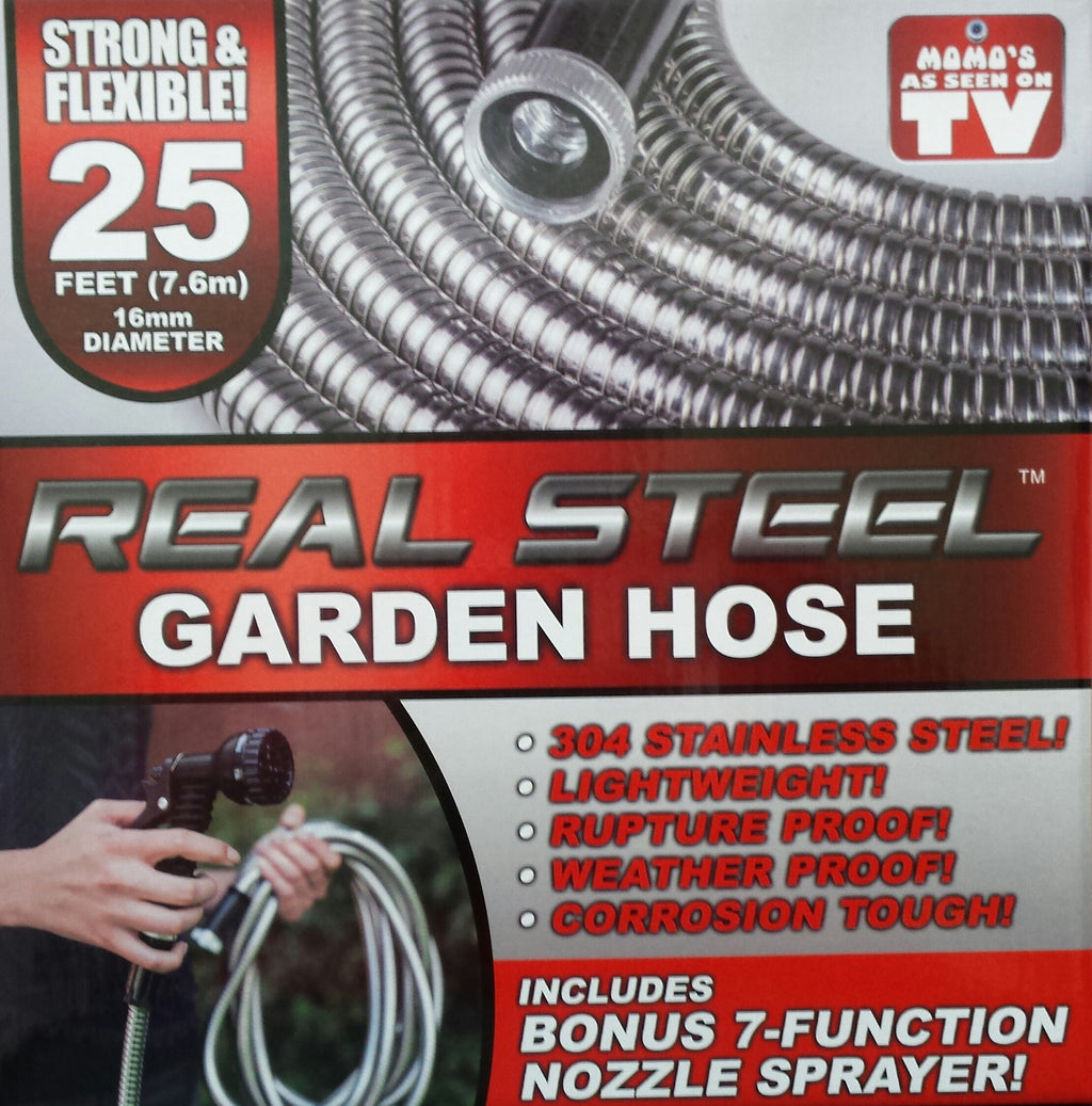 Real Steel 25' Lightweight Steel Garden Hose