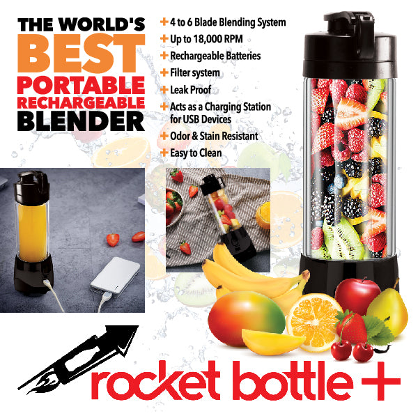 Rocket Bottle Plus - On The Go Blender to Make Your Fun Adult Drinks, Smoothies and Protein Shakes