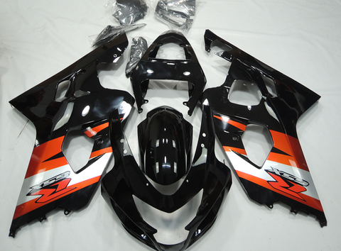 Black and Orange fairing kit for Suzuki GSXR600 2004, 2005 motorcycles