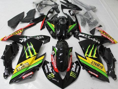 Black, Yellow & Green Monster Racing Fairing Kit for Yamaha YZF-R3 2015, 2016, 2017, 2018 motorcycles