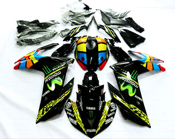 Black & Multi-Color Racing Fairing Kit for Yamaha YZF-R3 2015, 2016, 2017, 2018 motorcycles