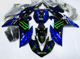 Blue & Black Monster Racing Fairing Kit for Yamaha YZF-R3 2015, 2016, 2017, 2018 motorcycles