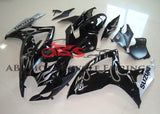 Black and Gray Flame Fairing Kit for a 2006 & 2007 Suzuki GSX-R750 motorcycle