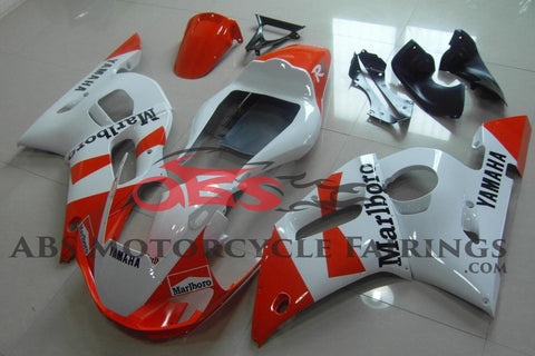 Red and White Marlboro Fairing Kit for a 1998, 1999, 2000, 2001 & 2002 Yamaha YZF-R6 motorcycle.