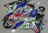 White and Blue Fixi Fairing Kit for a 2009, 2010, 2011, 2012, 2013 & 2014 Suzuki GSX-R1000 motorcycle