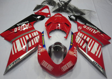 Ducati 1198 (2007-2012) Red, Silver, Black & White Striped Alice Fairings