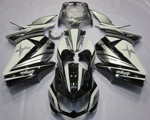 Black, White and Silver fairing kit for Kawasaki NINJA 250r 2008, 2009, 2010, 2011, 2012, 2013 motorcycles