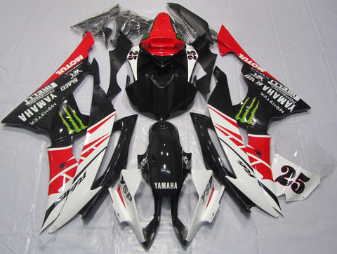 Black, White & Red Racing fairing kit for Yamaha YZF-R6 2008, 2009, 2010, 2011, 2012, 2013, 2014, 2015, 2016 motorcycles