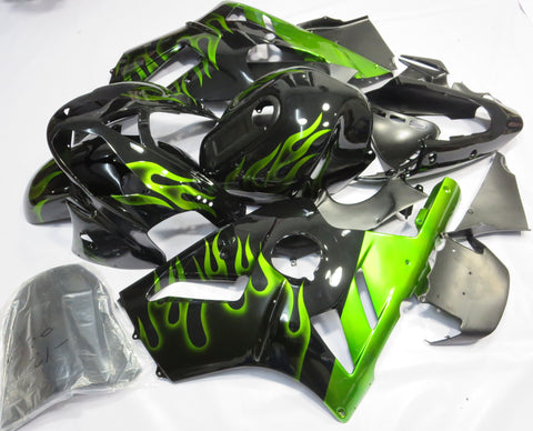 Black with Green Flames Fairing Kit for Kawasaki ZX-12R 2002, 2003, 2004, 2005, 2006 motorcycles