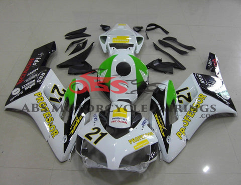 Honda CBR1000RR (2004-2005) White, Black, Green & Yellow Professor Fairings