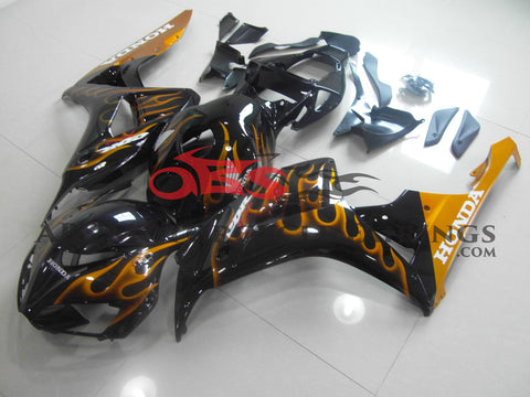 Honda CBR1000RR (2006-2007) Black & Gold Flame Fairings